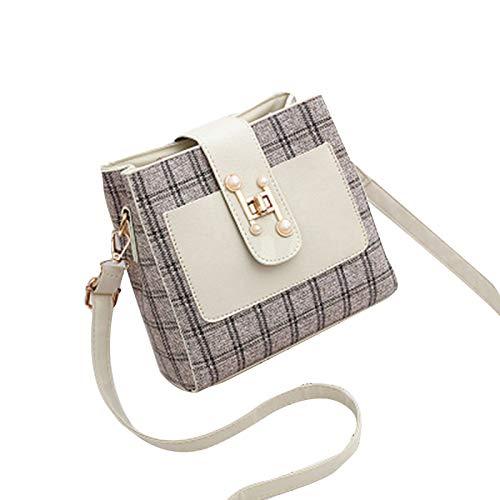 Huaji Bandolera para mujer de cuero de la PU de moda bolso de mensajero con múltiples compartimentos con correa ajustable para el hombro