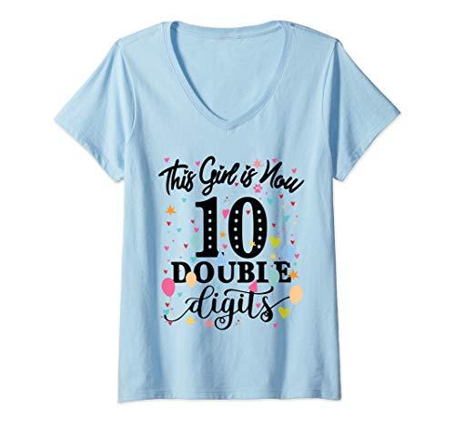 Damen 10th Birthday Gifts Shirt This Girl Is Now 10 Double Digits T-Shirt mit V-Ausschnitt