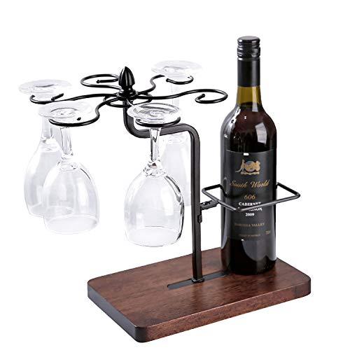 Gläserregal / Weinglashalter mit Weinflaschenhalter, aus Metall und Massivholz, für 1 Flasche und 6 Weingläser, Weinständer Weinregal Dekoration Geschenk Geburtstag Weinliebhaber Ostern