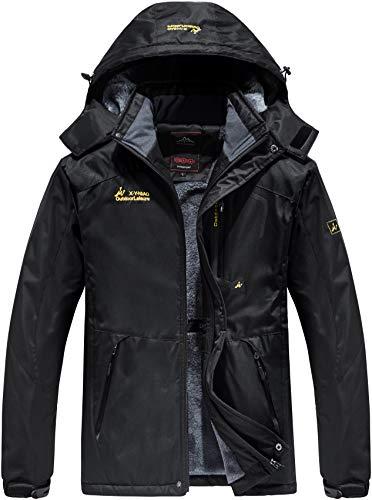 Vcansion Men's Winter Fleece Mountain Ski Jacket Waterproof Snowboard Jacket Coat Windbreaker Snowboarding Jacket Raincoat Removable Hooded Black L