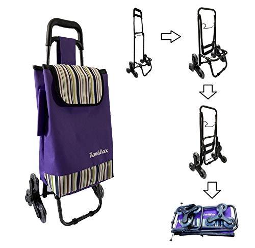 Tavalax Carrito de compras plegable & 6 ruedas & Carrito de compras con escalera & A prueba de agua & Carro de la compra plegable