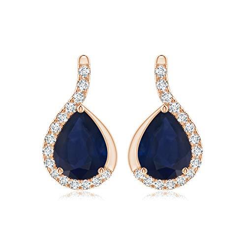 Pendientes de zafiro azul pera con marco de diamante en oro rosa de 14 K (8 x 6 mm, zafiro azul)