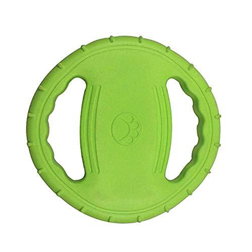 OMEM Unzerstörbare Quietschende und schwimmende Hunde-Fliegenscheibe für Outdoor-Training und Spielen, Gummi-Frisbee für große Hunde (grün)