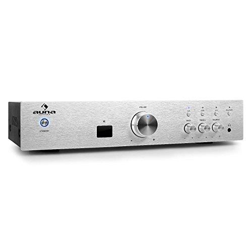 auna AV2-CD508BT Stereo HiFi Audio-Verstärker Heimkino-Verstärker Musik Anlage (600 Watt max, Bluetooth, Aux-In, 3 x Stereo-Cinch-Line-Eingang, Massive Edelstahl-Frontblende, Fernbedienung) Silber