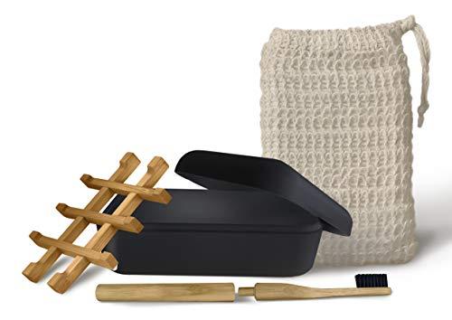 EDARTO® Seifenschalen nachhaltig, umweltfreundlich aus Natur-Bambus-Holz mit Abtropfwanne aus Bambusfaser (Schwarz mit Deckel)