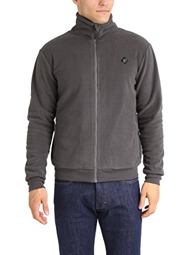 Lower East Herren Fleecejacke mit Stehkragen, Grau, 3XL