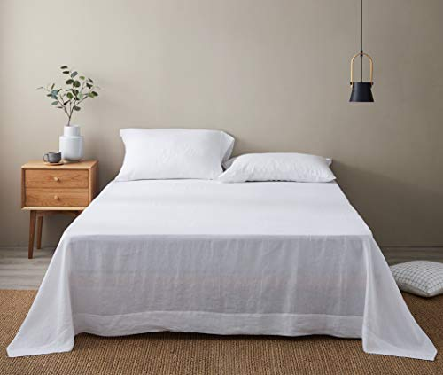 DAPU Pure Linen Sheets Set with Stone Washed 100% French Natural Linen European Flax (King, White, Flat, Fitted and 2 Pillowcases
