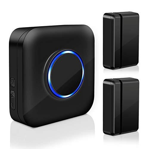 Door Open Alert BITIWEND Wireless Door Sensor Chime for Office/Home/Store,Door Open Chime Window Alarm Operate Range 600ft With 52 Chimes 4 Volume Level, 2 Door Sensors+1 Plug-in Receiver,Black