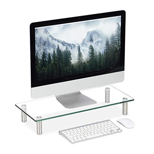 Relaxdays Soporte Monitor, Elevador Pantalla Ordenador, Portátil, Ajustable, Cristal, 1 Ud, 56 x 24 cm, Transparente