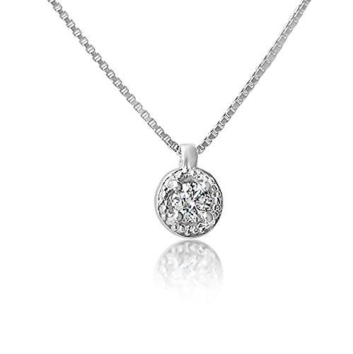 MILLE AMORI ∞ Collier Femme Or Pendentif Or et Diamants ∞ Or Blanc 9 Kt 375 ♥ Diamants 0.04 Kt ∞ Chaine vénitienne 42 cm