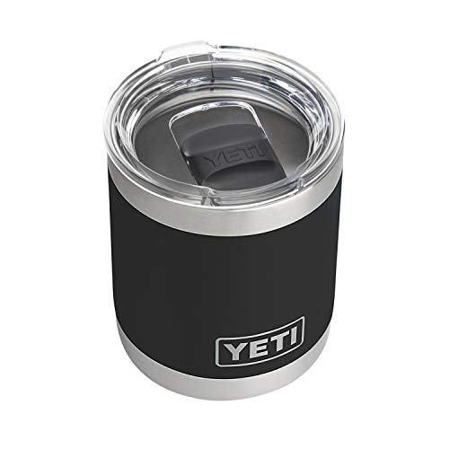 YETI Rambler 10 oz Lowball, Vacuum Insulated, Stainless Steel with MagSlider Lid, Black