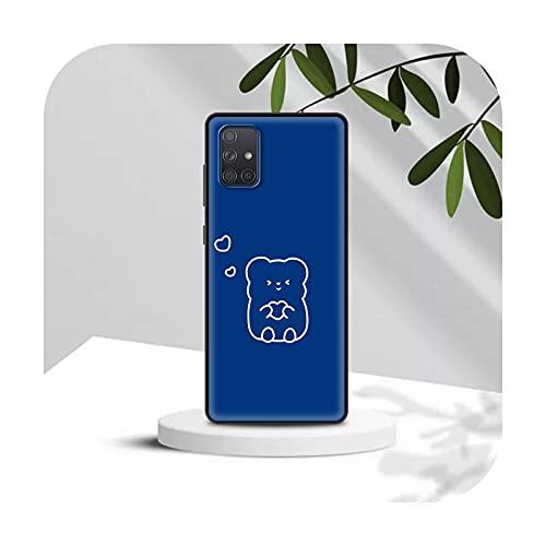Funda de silicona para Samsung A91 A71 A51 5G A70 A50 A41 A40 A31 A30 A21s A20s A20e A12 A11 A10 Coque Cute Lovers Bear-B01-para Samsung A31