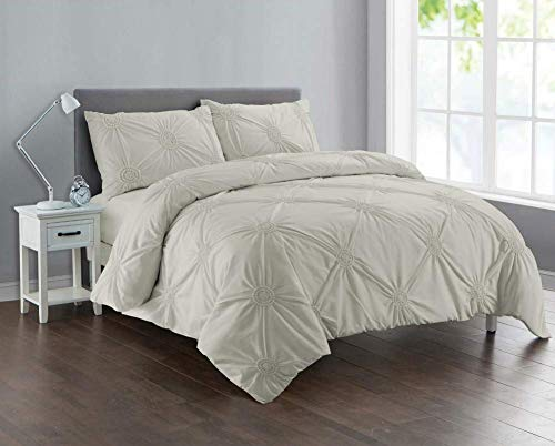 Divine Textiles Pintuck Sunflower Style Fancy Duvet Cover Set With Pillow Cases 10 Colours, King - Cream