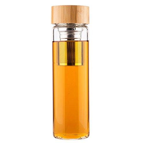Life4u Fruit,Tea Infuser Borosilicate Glass Water Bottle with Neoprene Sleeve and Bamboo Lid,Portable Tumbler 17oz