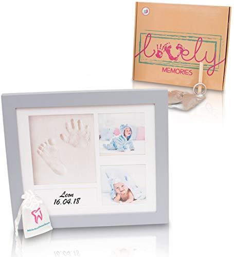 Baby Bilderrahmen Abdruck Rahmen Set für Handabdruck & Fußabdruck in stylischer Geschenkbox, Taufgeschenk, Geschenk zur Geburt. Andenken für Ihr Baby Kleinkind. Fotoalbum Fotocollage für Babys