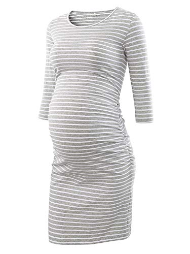 Liu & Qu Women's Maternity Bodycon Ruched Side Dress Casual Short & 3/4 Sleeve Dress for Daily Wearing Or Baby Shower… (L4. Grey White Stripe, s)