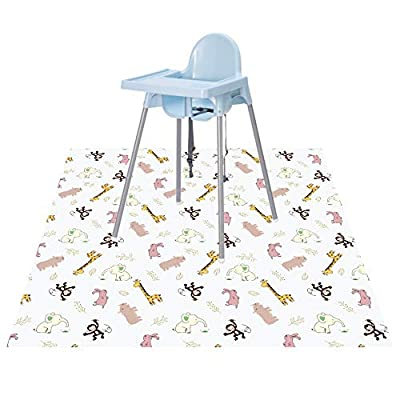 """Baby Splat Floor Mat for Under High Chair/Arts/Crafts by CLCROBD, 51"""" Waterproof Anti-Slip Food Splash Spill Mess Mat, Washable Floor Protector Mat and Table Cloth"""