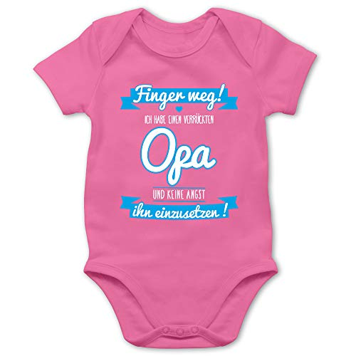 Shirtracer Sprüche Baby - Ich Habe einen verrückten Opa blau - 6/12 Monate - Pink - ich Habe einen verrückten Opa - BZ10 - Baby Body Kurzarm für Jungen und Mädchen