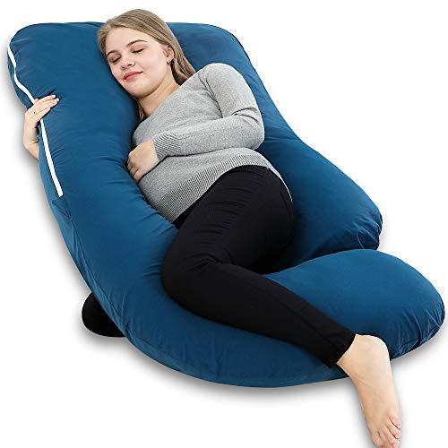 INSEN Pregnancy Body Pillow,Full Body Maternity Pillow for Pregnant Women with Body Pillow Cover (Blue&Grey)