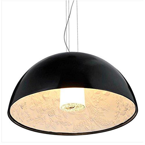 Joeyhome Lampe LED Lampe moderne Pendentif Pendentif Résine Skygarden Dôme Peinture salle à manger lumineux Pendentif,Black,dia 40CM