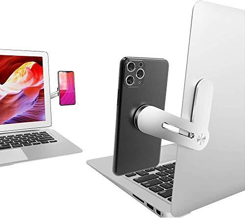 Elim's Choice スマホスタンド 携帯電話ホルダー デスクトップモニターとラップトップモニターの両方に適合 デュアルスクリーンディスプレイ マグネット式 着脱簡単 アルミ合金製 回転式 折りたたみ収納 40g 取り付け簡単 すべてのスマートフォンに対応 シルバー