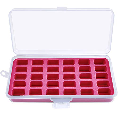 Bobbin Holder Storage Case Sewing Box Thread Organizer Holds 30pcs Bobbins for Brother Sewing Machine- Red(Box Only)