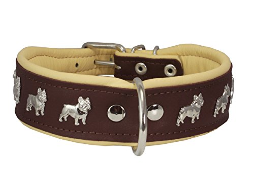 Dogs My Love Real Leather Soft Leather Padded Dog Collar Bulldog (16.75'-19.25' Neck; 1.75' Wide, Brown/Beige)