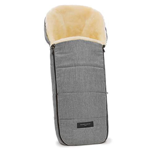 WERNER CHRIST BABY Lammfell-Fußsack FLIMS – kuscheliger Buggy-, Kinderwagen-Fußsack, aus medizinischem Fell, universal, in grigio