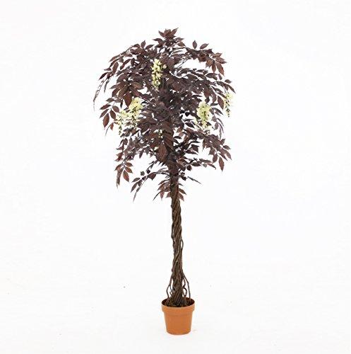 Calidad Árbol Japonés Floración Roja Artificial (Glicina Japonesa), Réplica Oficina Interior Al Aire Libre Planta Árbol Topiary - Aprox. 6 pies de altura