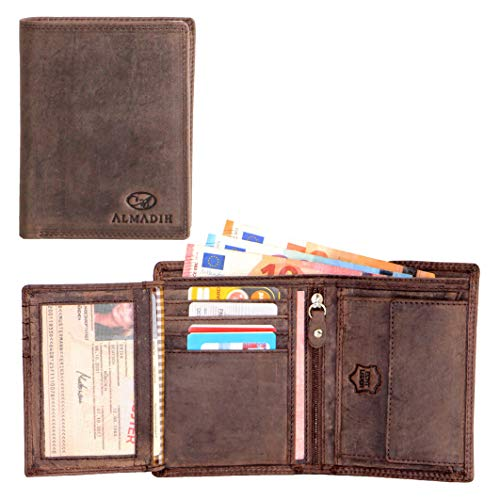 ALMADIH ® Portemonnaie Hochformat edles Rindsleder - 12 Kartenfächer mit Geschenkbox (P1H DB-V) Leder Herren Börse Unisex Geldbörse Geldbeutel Portmonee Brieftasche Herrenbörse (P1H Dunkelbraun)