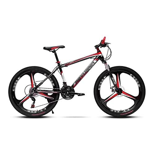 Bicicleta Bicicleta de montaña 21/24 velocidades con freno de disco doble, MTB para adultos de acero con alto contenido de carbono, Bicicleta rígida con asiento ajustable, Azul, 21 velocidades