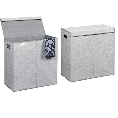mDesign 2er-Set Wäschetruhe aus atmungsaktivem Polypropylen – Design Wäschekorb für Waschküche, Bad oder Schlafzimmer – Faltbare Wäschetonne im Jute-Look mit 2 Fächern, Deckel und Griffen – grau