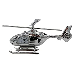 Pilot Toys Silver Helicopter Desk Clock