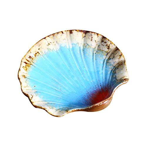 JUNYYANG Vintage Placa de cerámica Frutero Sea Shell náutico Decoración del Ornamento Jabonera Bandeja Esponja Placa Porta joyería