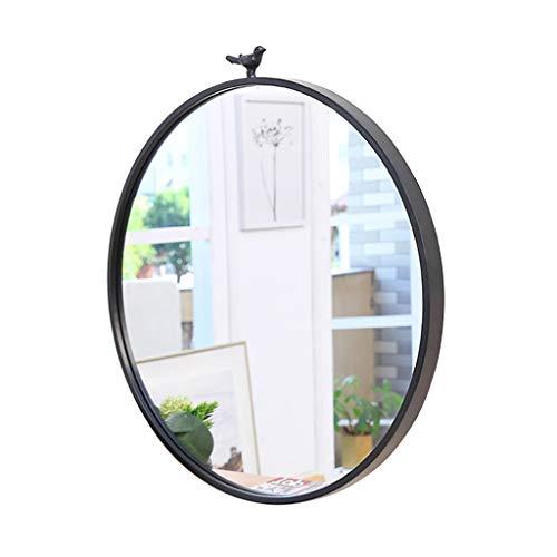 QDY-Wall-Mounted Vanity Mirrors Espejo de Pared de Cristal con Marco Redondo y diseño Simple, Color Negro, Espejo de Pared HD para baño o Sala de Estar o baño, de 15.7 a 27.5 Pulgadas