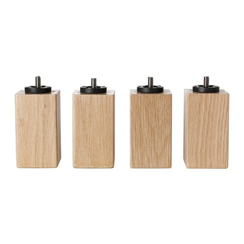 """IKEA BURFJORD 3 7/8"""" BEDROOM Bed Risers - Best Natural Wood Bed Leg Risers - Easy To Install - [Set of 4] - M8   8 MM Metric End"""