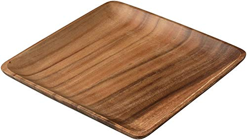 INSTO Wood Square Plate 25Cm, Wooden Kitchenware