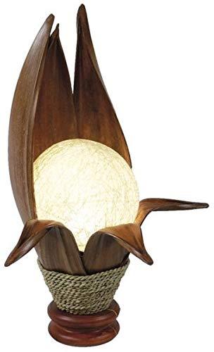 Deko-Leuchte LOTUS KARIMA, 6 Blätter, Tisch-Lampe aus Natur-Materialien, Stimmungsleuchte