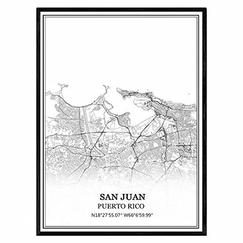 San Juan Puerto Rico Mapa de pared arte lienzo impresión cartel obra de arte sin marco moderno mapa en blanco y negro recuerdo regalo decoración del hogar