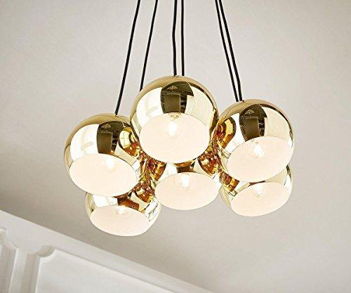 Moderne E14 Suspension Luminaire 6 Globes Oculaires en Cascade Métal Suspension lampe Boule Design Luminaires déco Salle à manger Finition en Effet Cuivre Polis
