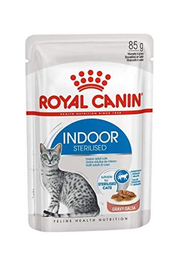 ROYAL CANIN Indoor Sterilised, Bocaditos en Salsa, Caja 12 x 85 gr ⭐