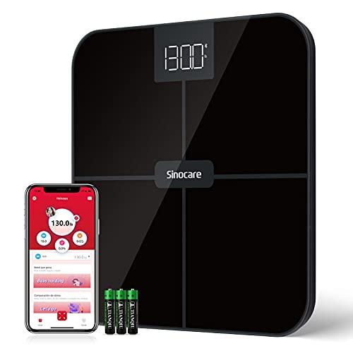 Sinocare Báscula Digital Cuarto de Baño, Bluetooth Báscula Digital de Baño con Pantalla LCD, Capacidad de 160 kg, Plataforma de Vidrio, Apagado Automático e Incluye Pilas