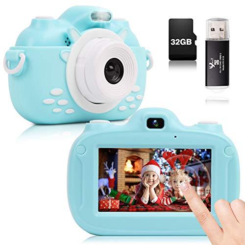 YUNKE Fotocamera per Bambini, Fotocamera Digitale Touch Screen HD 3,0 Pollici, 30MP 1080P 32G, Regalo Giocattolo per Feste di Compleanno di Capodanno di Natale per Bambini di età Compresa 2-10 (Blu)