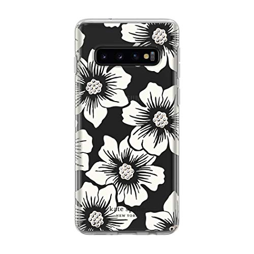 kate spade new york Phone Case | for Samsung Galaxy S10 | Protective Clear Crystal Hardshell Phone Cases with Slim Design and Drop Protection - Hollyhock Floral Clear/Cream with Stones