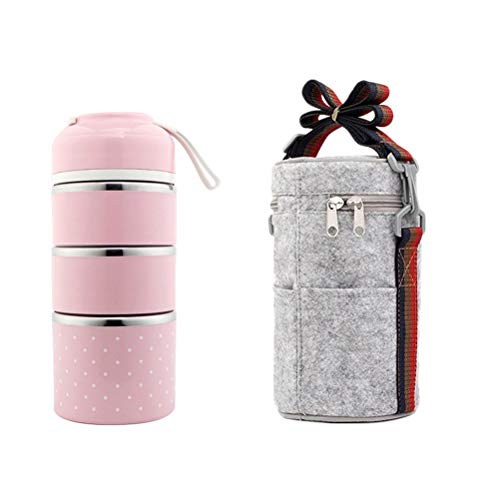 BESTonZON Edelstahl Thermo-Lunchbox 3 Etagen Isolierte Lebensmittelbehälter Lebensmittelbehälter Lebensmittelbehälter mit Seilgriff Tasche für Kinder Erwachsene Camping Picknick Reisen (Pink)