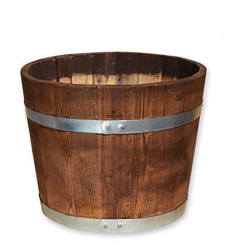 Temesso Blumentopf, Blumenkübel aus Kastanien-Holz - Fass, Holzfass als Pflanzkübel - Bottich, Holzkübel palisanderfarben (D30 H30cm palisander)