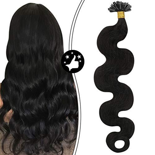 Moresoo Keratin Bonding Extensions 100% Remy Echthaar Human Hair Wavy 22Zoll U Tip Haarverlangerung Echthaar Extensions Bondings Gewellt Schwarz #1B 50g 1g/s