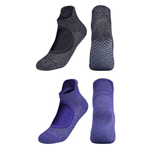 LIOOBO 2 Paare Yoga Socken Frauen Grip Fitness Socken rutschfeste Baumwollsocken für Barre Ballett Fitness (Schwarz Lila)