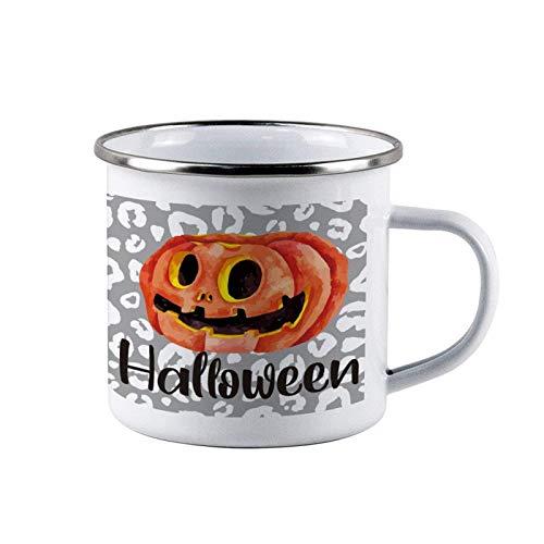 Tazas de acero esmaltado de Halloween Orange Pumpkin Smile, tazas de lata de café de viaje esmaltadas para acampar, tazas duraderas para fogatas al aire libre con asa para niños, hombres, padres, acci