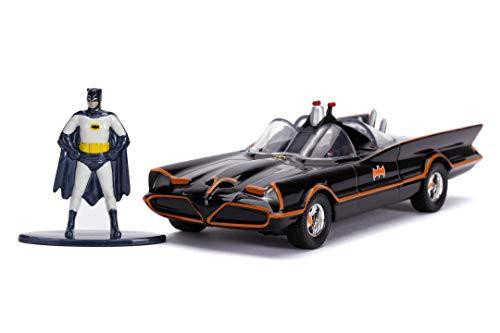 Jada Toys 253213002 Classic Batmobil 1966, hochdetailiertes 1:32 Modellauto inkl. Batman Figur, Türen können geöffnet werden, mit Freilauf, schwarz